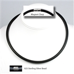 "Suki - 6mm (1/4"") (1/4"") Black Rubber Necklace"