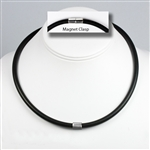 "Suki - 6mm (1/4"") (1/4"") Black Rubber 925 Sterling Silver Necklaces"