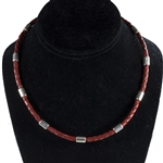 "Capri 925 Sterling Silver Braided Leather Necklaces - 4mm (5/32"") (5/32"")"