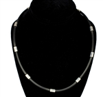 "Capri 925 Sterling Silver Black Rubber Necklace - 4mm (5/32"") (5/32""')"
