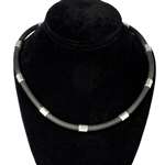 "Capri 925 Sterling Silver Black Rubber Necklace - 6mm (1/4"") (1/4"")"