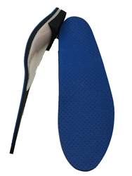 "Custom Made Orthotics Full Length 1/8"" black eva with 1/16"" blue perforated blue cushion top cover"