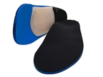 "Custom Made Orthotics Full Length 1/8"" medical blue with 1/16"" black covered spenco cushion top cover"