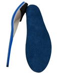 "Custom Made Orthotics, with 1/8"" cushioned medical blue and 1/16"" blue covered poron top cover"