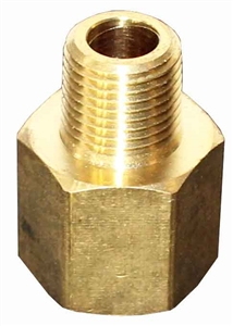 "1/8"" NPT Male x 1/4"" NPT Female Brass Hex Bushing, FB204."