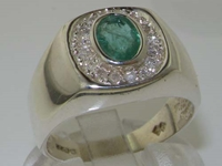 Stunning Sterling Silver Emerald and Diamond Men's Signet Ring