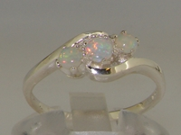 Elegant Sterling Silver Natural Australian Opal Trilogy Ring