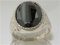 Stunning Mens Sterling Silver Facet Cut Haematite Signet Ring
