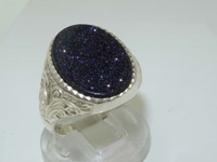 Superb Men's Sterling Silver Blue Goldstone Signet Ring