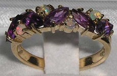 Exquisite 9K Yellow Gold Marquise Cut Amethyst and Opal Half Eternity Ring