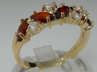 Exquisite 14K Yellow Gold Marquise Cut Garnet and Diamond Half Eternity Ring