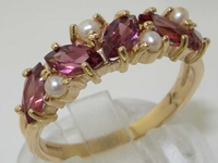Stunning 9K Yellow Gold Marquise Rhodolite Garnet and Pearl Half Eternity Ring