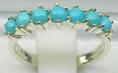 Sophisticated 10K White Gold Turquoise Half Eternity Ring