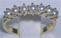 14K Yellow Gold Freshwater Pearl Half Eternity Ring