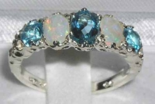 Sumptuous 9K White Gold Blue Topaz and Australian Opal Five Stone Ring