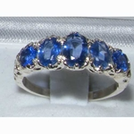 Exquisite 18K White Gold Ceylon Sapphire Five Stone Victoriana Design Ring