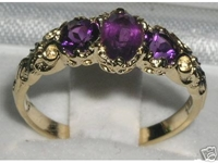 Exquisite 14K Yellow Gold Amethyst Ornate Trilogy Ring