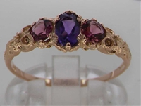 Stunning 14K Rose Gold Amethyst and Pink Tourmaline Trilogy Ring
