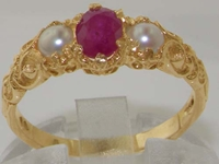 Stunning 18K Yellow Gold Ruby and Pearl Trilogy Ring