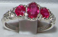 Exquisite 18K White Gold Ruby Trilogy Ring