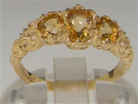 Beautiful Ornate 10K Yellow Gold Citrine Trilogy Ring