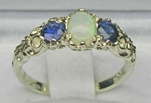 Stunning 18K White Gold Opal and Sapphire Ornate Trilogy Ring
