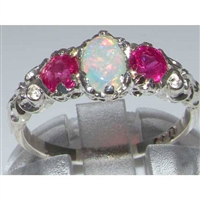 Exquisite 18K White Gold Opal & Ruby Trilogy Ring