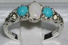 Beautiful 18K Yellow Gold Opal and Turquoise Ornate Trilogy Ring