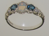 Beautiful 14K White Gold Opal and London Blue Topaz Trilogy Ring