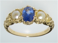 Beautiful 18K Yellow Gold Sapphire and Pearl Trilogy Ring