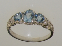 Elegant 18K White Gold AAAA Quality Aquamarine Trilogy Ring