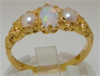 Luscious 18K Yellow Gold Opal and Pearl Trilogy Ring