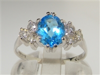 Elegant 9K White Gold Natural Blue Topaz & Diamond Engagement Ring