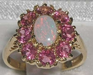 Elegant 14K Yellow Gold Opal and Pink Tourmaline Cluster Dress Ring