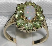 Beautiful 14K Yellow Gold Opal and Peridot Cluster Dress Ring