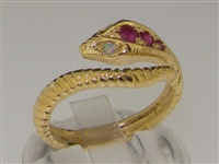 Breathtaking 14K Yellow Gold Ruby & Opal Single Wrap Snake Ring