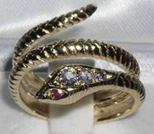 Gorgeous 9K Yellow Gold Tanzanite and Ruby Double Wrap Snake Ring