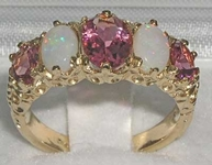 Elegant 9K Yellow Gold Pink Tourmaline and Opal Five Stone Ring