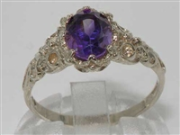 Exquisite Platinum Amethyst Solitaire Ring