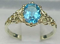 Stunning 14K White Gold Blue Topaz Solitaire Ring