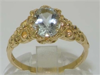 Beautiful 10K Yellow Gold Aquamarine Solitaire Ring