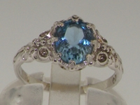 Elegant Platinum Aquamarine Solitaire Ring