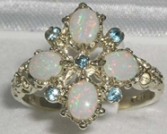 Sumptuous 9K White Gold Blue Topaz and Australian Opal Statement Ring