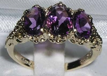 Ornate 18K Yellow Gold Amethyst Trilogy Ring