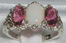 Ornate 14K White Gold Opal and Pink Tourmaline Trilogy Ring