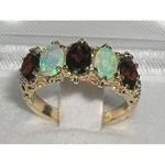 Stunning 9K Yellow Gold Garnet and Australian Opal Five Stone Ring