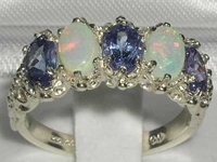 Exquisite 9K White Gold Ceylon Sapphire and Australian Opal Five Stone Ring