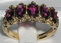 Classic Ornate 9K Yellow Gold Almandine Garnet Five Stone Ring