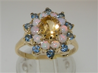 Magnificent 9K Yellow Gold Citrine, Opal & Aquamarine Flower Cluster Ring