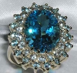 Imposing 9K Yellow Gold Blue Topaz and Aquamarine Cluster